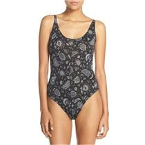 New S Free People 'Scooped Up' Printed Jersey Knit Sleeveless Bodysuit in Black