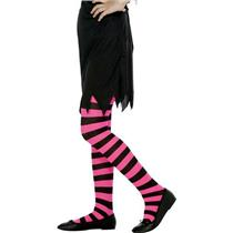 Black and Fuchsia Striped Child Tights 6-12 years