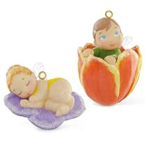 Hallmark Mini Ornament 2016 Baby Fairy Messengers #2 Pansy and Tulip QHG1201-SDB