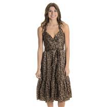 6 NWT BCBG MAXAZRIA Silk Charmeuse Halter Dress Mahogany Brown Empire Waist