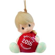 Precious Moments Ornament 2016 Baby's First Christmas - Boys - #161006