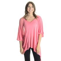 NEW XS/S Free People Movement Shredded Scoop Neck Asymmetrical Hem Tee in Pink