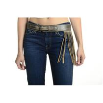 NEW S Bed Stu Whist Asymmetrical Fringe Detail Back Buckle Leather Belt in Teak