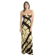 Sz S Sky Tie Dye Beige/BrownCrochet Front Stretch Jersey Strapless Maxi Dress