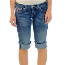 Size 27 True Religion Disco Sophie Big T Cuffed Denim Long Shorts W104433NBTC