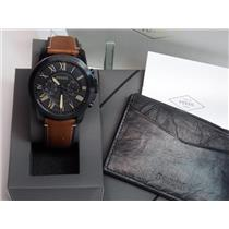Fossil FS5335SET. Grant Black Steel Brown Leather Watch w/Leather Card Case