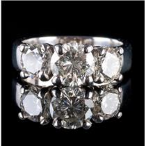 Stunning Platinum Round Cut Three-Stone Diamond Engagement Ring 3.35ctw