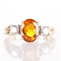 18k Yellow Gold Oval Cut Golden Sapphire & Diamond Three-Stone Ring 1.93ctw