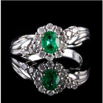 18k White Gold Oval Cut Emerald & Diamond Halo Style Ring .72ctw