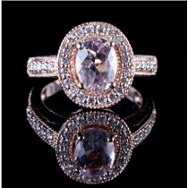 14k Rose Gold Oval Cut Morganite & Diamond Halo Cocktail Ring 1.54ctw