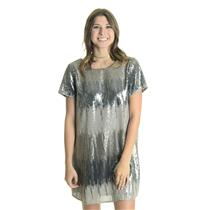 NEW L Show Me Your Mumu Tallulah Sequin Low Back Short Sleeve Dress in Shimmer
