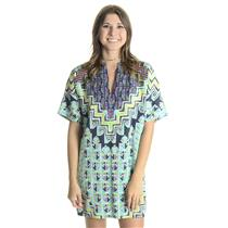 NEW XS Mara Hoffman Rug Tencel Tunic Dress Turquiose Geometric Multi-Color Print
