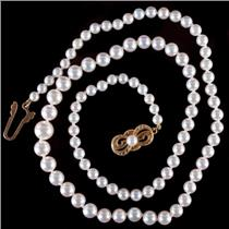 "Mikimoto 18k Yellow Gold Round Cultured ""AAA"" Pearl Necklace W/ Original Box"