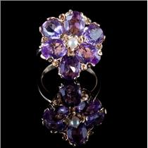 14k Yellow Gold Oval Cut Amethyst & Pearl Flower Cocktail Ring 6.3ctw