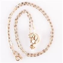 """Vintage 1930's 14k Yellow / White / Rose Gold Cultured Pearl Lady Necklace 16"""""""