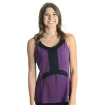 NWT L Wilson Tennis Women's Ashland Colorblock V Neck Tank Deep Plum and Black