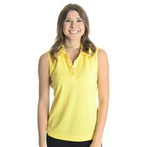 NWT S Bolle Tennis Women's Yellow Sleeveless Collared Snap Neck Tennis Top