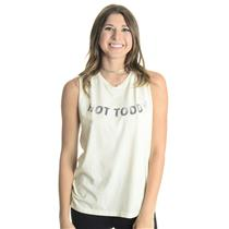 NEW S/M Mate the Label Hot Toddy Raw Edge Sleeve Detail Tank Top in Ivory White