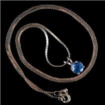 """14k Yellow Gold Round Cut Sapphire Solitaire Pendant W/ 18"""" Chain 1.05ct"""