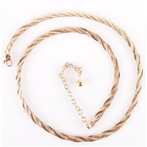 "14k Yellow Gold Twisted Flat Chain Necklace W/ Adjustable Extension 16"" - 19"""