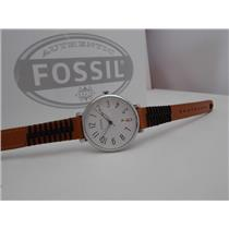 Fossil ES4208 Women's Watch.Jacqueline. Brown and Black Leather Strap Watch 36mm