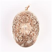 Vintage 1980's 14k Yellow Gold Engraved Floral Locket Pendant W/ Diamond .06ct