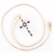 14k Yellow Gold Round / Baguette Cut Sapphire & Diamond Cross Necklace .52ctw