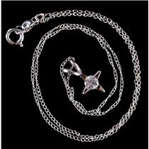 "14k White Gold Round Cut Diamond Solitaire Star Pendant W/ 14.75"" Chain .22ct"