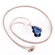 "14k White Gold Pear Cut Lab Sapphire & Diamond Pendant W/ 19.5"" Chain 2.02ctw"