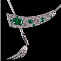 14k White / Rose Gold Emerald Cut Emerald & Diamond Custom Necklace 2.02ctw