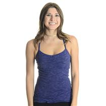 Sz XS Lucy Navy/Black/Gray Stripe V-Neck Workout Top W/ Removeable Pad Shelf Bra