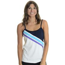 NWT Sz L Fila White Center Court Tennis Cami w/ Purple/Blue/Black Stripe Detail