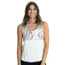 NWT L Denise Cronwall Tennis Butterfly Printed Top Racerback Tennis Tank in Blue