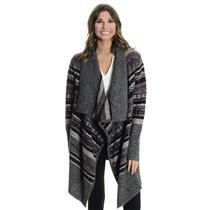 L Kensie Gray Black Purple Open Front Fair Isle Print Knit Cardigan Cozy Sweater