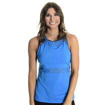 NWT Sz L Chrissie By Tail Women`s Evan Tennis Tank With Shelf Bra in Blue