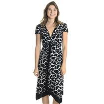 XL NWT Libra Black White Giraffe Cap Sleeve Jersey V Neck Empire Waist Dress