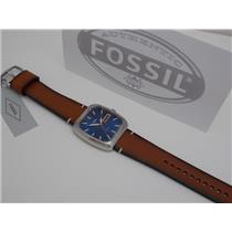 Fossil FS5334 Mens Rutherford Watch.Square Steel Case.Day/Date.Brown Lthr Strap