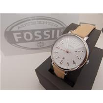 Fossil ES4206 Women's Watch.Jacqueline.Silver Tone Steel.Lite Brwn Leather Strap