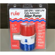 "RULE 25S 12V 3/4"" 2.5A 500 GPH / 1890 LPH Bilge Pump Fully Automatic Submersible"
