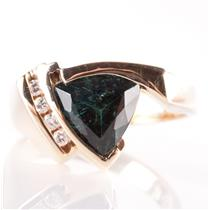14k Yellow Gold Trillion Cut Tourmaline Solitaire Ring W/ Diamond Accent 2.78ctw