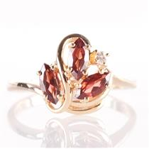 14k Yellow Gold Marquise Cut Almandine Garnet & Diamond Floral Ring .84ctw