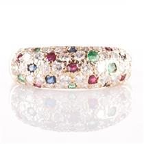 14k Yellow Gold Diamond / Sapphire / Ruby / Emerald Pave' Style Ring .74ctw