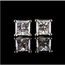 "14k White Gold Princess Cut ""H"" Diamond Solitaire Stud Earrings .44ctw"