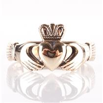 Men's 9k Yellow Gold Irish Made Traditional Claddagh Ring 7.3g Size 13