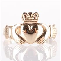 10k Yellow Gold Irish Made Traditional Claddagh Ring 1.4g Size 5.75