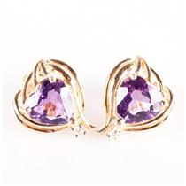 14k Yellow Gold Heart Cut Amethyst Solitaire Stud Earrings W/ Diamonds 2.53ctw