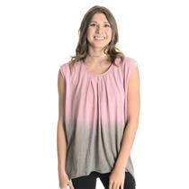 NEW M NSF #alldayNSF Cassidy Cap Sleeve Ombre High-Low Round Hem Tee in P. Rose