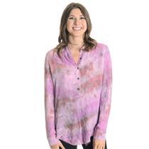 New 0 Raquel Allegra Georgette Silk Henly Button Down Blouse in Fushia Tie Dye