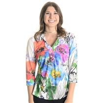 XL NWT Boho Green V Neck Bright Floral Print White Chic Button Front Blouse