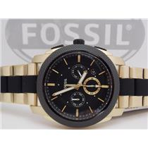 Fossil FS5261 Mens Machine Series Watch. Chronograph. Gold Tone/Black Bracelet